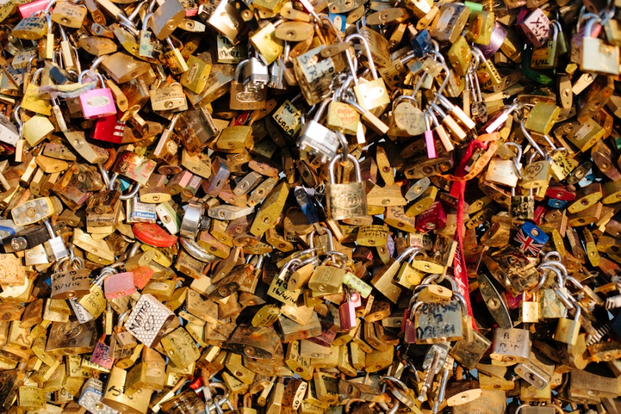 Love-locks bridge in Paris
