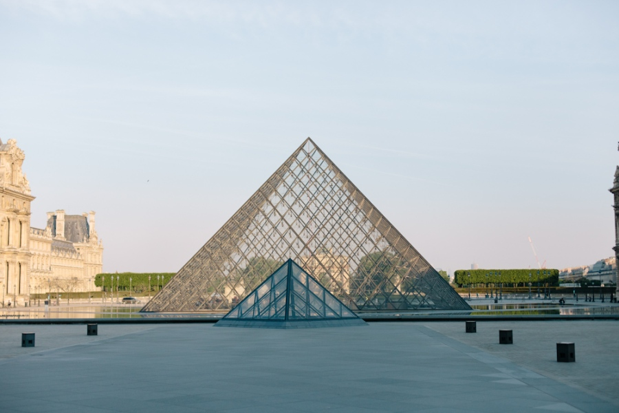 Pyramids in front of the Louvre Museum in Paris