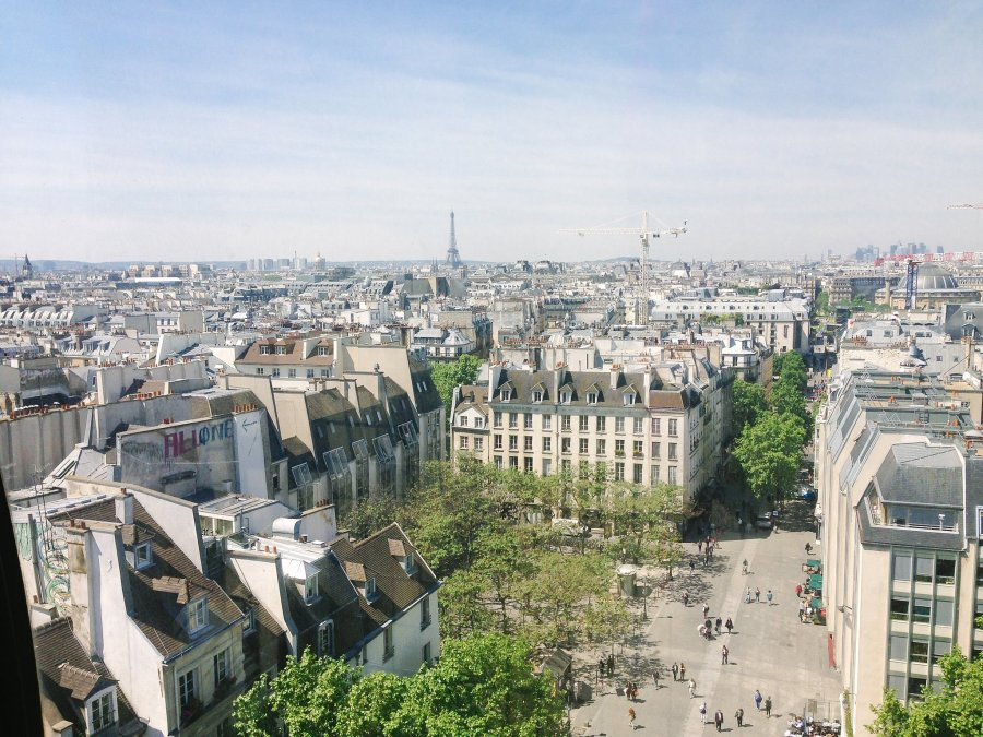 View of Paris from top of Galeries Lafayette.