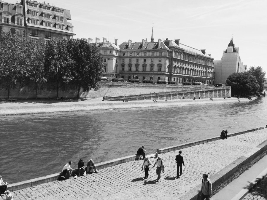 Seine River in Paris in black and white