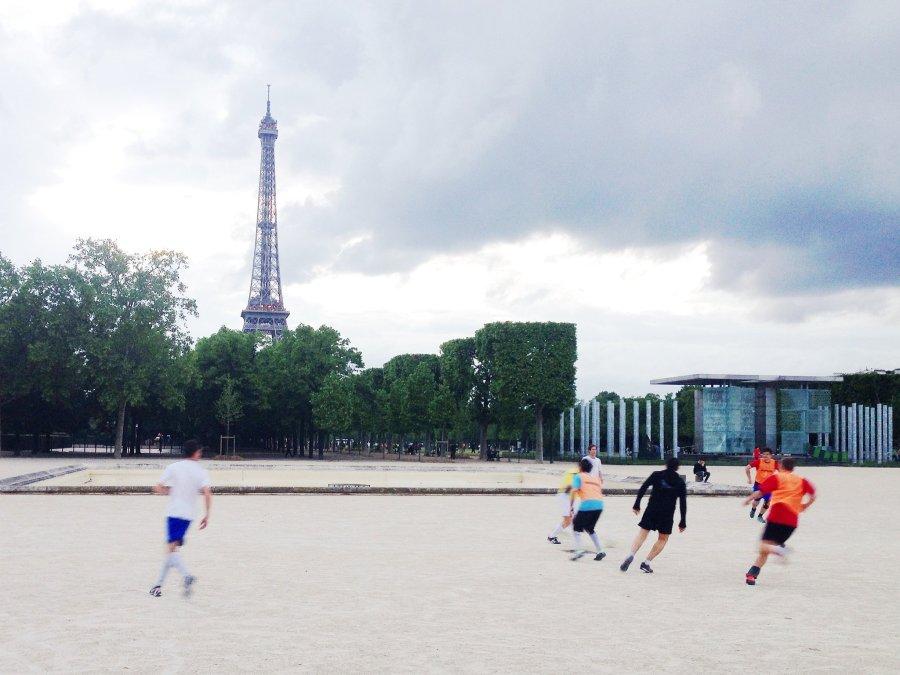 Soccer near the Eiffel Tower in Paris
