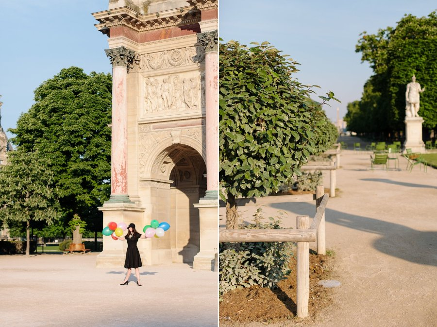 Fashion blogger taking photo in Jardin des Tuileries in Paris