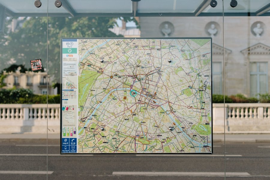 Map at a bus stop in Paris