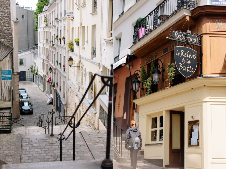 A street and cafe in Montmartre in Paris