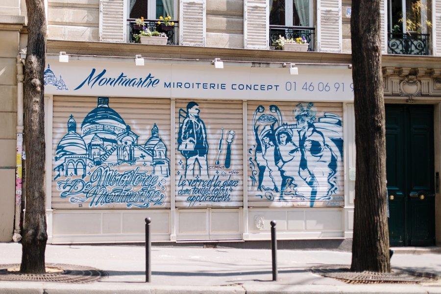 Wall art in Montmarte in Paris