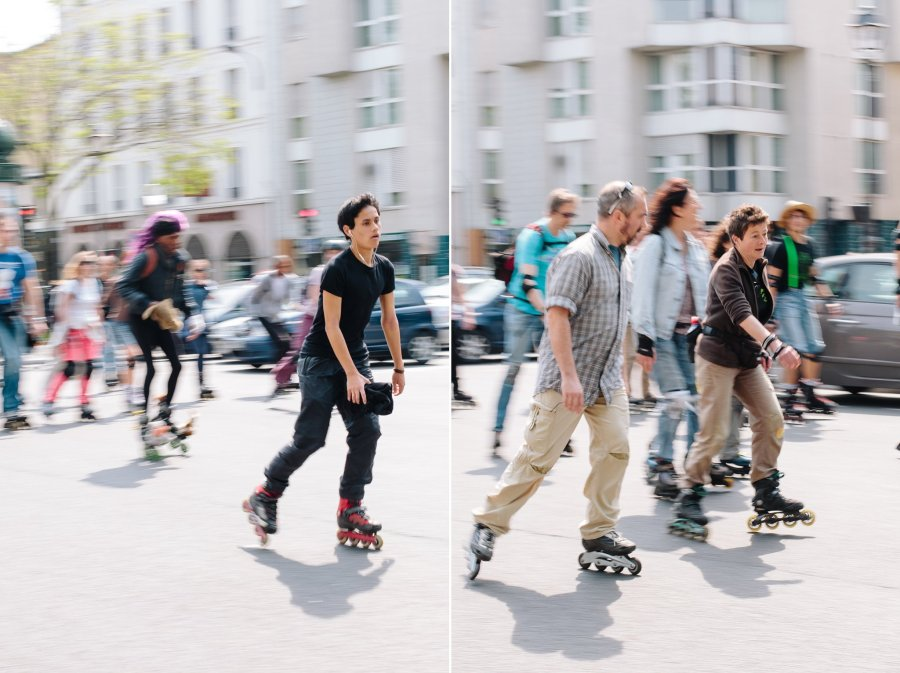 Roller blade rally in Paris in May