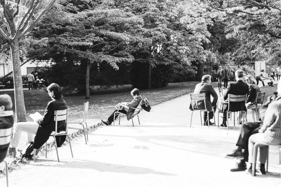 Luxembourg Gardens in Paris in black and white