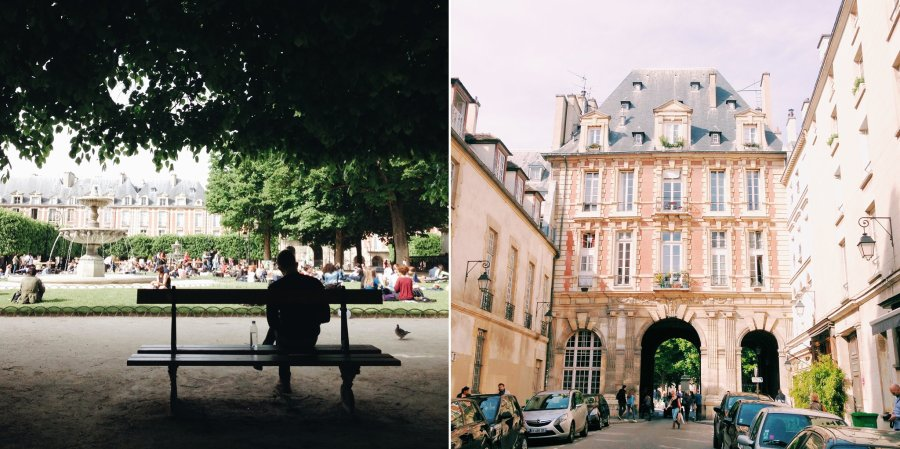 Place de Vosges in Paris France using iPhone.