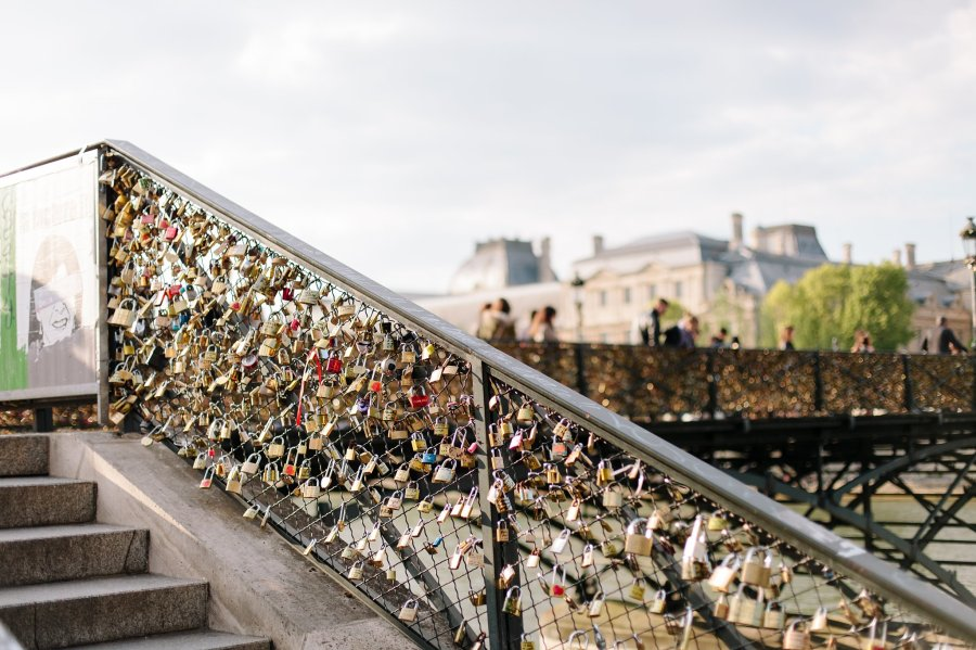 Pont des Arts and love-locks bridge in Paris