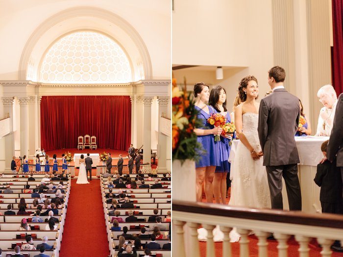 Memorial chapel wedding at University of Maryland